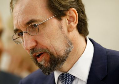Zeid Ra'ad Al Hussein, U.N. High Commissioner for Human Rights arrives at the 36th Session of the Human Rights Council at the United Nations in Geneva, Switzerland September 11, 2017. REUTERS/Denis Balibouse - RC1A7CCF0C10