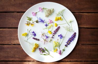 Edible Flowers in a white plate on a wooden surface