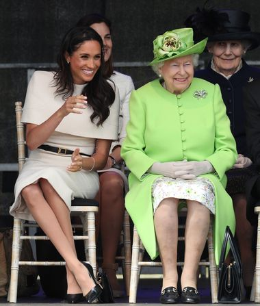 Queen Elizabeth II and the Duchess of Sussex at the opening of the new Mersey Gateway Bridge, in Widnes, Cheshire., Image: 374869718, License: Rights-managed, Restrictions: , Model Release: no, Credit line: Profimedia, Press Association