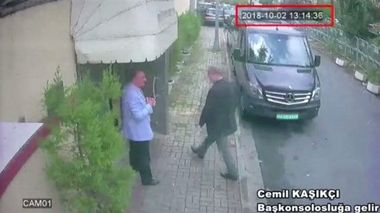 A still image taken from CCTV video and obtained by TRT World claims to show Saudi journalist Jamal Khashoggi as he arrives at Saudi Arabia's consulate in Istanbul, Turkey Oct. 2, 2018. Reuters TV/via REUTERS. ATTENTION EDITORS - THIS PICTURE WAS PROVIDED BY A THIRD PARTY. NO RESALES. NO ARCHIVES.