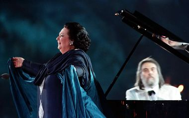 Spanish opera diva Montserrat Caballe sings accompanied on the piano by Greek composer Vangelis Papathanasiou in the Marble Stadium during the opening ceremonies of the 6th IAAF World Athletics Championships August 1. The ancient stadium was rebuilt in 1896 for the first modern Olympic-Games. - PBEAHUMNVDJ