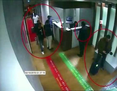 October 10, 2018 - °Stanbul, Türkiye - A still image from a security cam claims to show Saudi people arriving at Ataturk Airport in Istanbul. It is claimed that these people are Saudi intelligence officers who killed Jamal Khashoggi., Image: 390591212, License: Rights-managed, Restrictions: * Turkey Rights Out *, Model Release: no, Credit line: Profimedia, Zuma Press - News