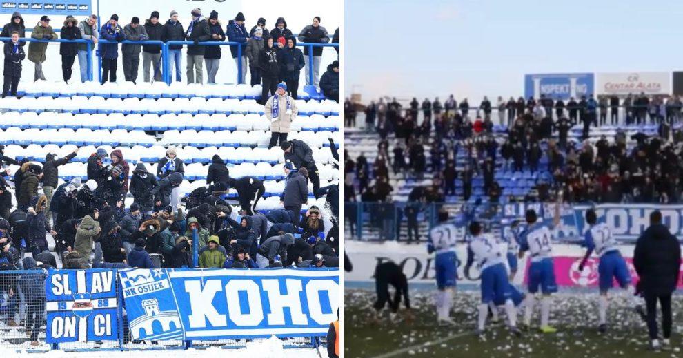 Fantastični prizori iz Osijeka! Igrači i navijači su se grudali poslije utakmice