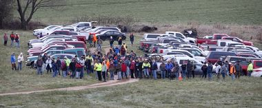 More than a hundred volunteers came out to search fields and woods looking for evidence in the Jayme Closs case Tuesday morning, Oct. 23, 2018., Image: 392319649, License: Rights-managed, Restrictions: *** World Rights *** US Newspapers Out ***, Model Release: no, Credit line: Profimedia, SIPA USA