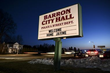 January 11, 2019 - Barron, Wisconsin, U.S. - The sign outside Barron City Hall, welcomes Jayme Closs, a 13-year-old northwestern Wisconsin girl who went missing in October after her parents were killed. Closs was found alive in the rural town about an hour from her home, and a 21 year old male kidnaping suspect Jake Thomas Patterson has been arrested., Image: 406667467, License: Rights-managed, Restrictions: * USA Tabloid Rights OUT *, Model Release: no, Credit line: Profimedia, Zuma Press - News