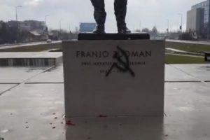 Vandali su nacrtali srp i čekić na spomeniku Franji Tuđmanu