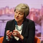 Britain's Prime Minister Theresa May appears on BBC TV's The Andrew Marr Show in London