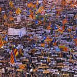 Protesters hold banners during a demonstration called by pro-independence associations asking for the release of jailed Catalan activists and leaders, in Barcelona