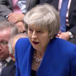 British Prime Minister Theresa May speaks after winning a confidence vote, after Parliament rejected her Brexit deal, in London