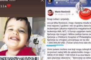 Poznati se uključili u akciju za spas male Mile Rončević: 'Pomozite i vi'