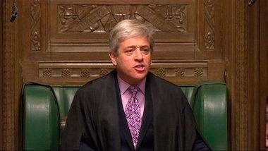 A video grab image shows the Speaker of the House of Commons, John Bercow, announcing the result of the vote on gay marriage legislation, in the House of Commons, London February 5, 2013. British lawmakers on Tuesday backed legalising gay marriage in the first of several votes on the issue after a debate which split Prime Minister David Cameron's ruling Conservative party in two. REUTERS/UK Parliament (BRITAIN - Tags: POLITICS RELIGION SOCIETY) NO COMMERCIAL OR BOOK SALES. FOR EDITORIAL USE ONLY. NOT FOR SALE FOR MARKETING OR ADVERTISING CAMPAIGNS. NO THIRD PARTY SALES. NOT FOR USE BY REUTERS THIRD PARTY DISTRIBUTORS - RTR3DE3S