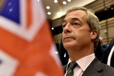 Nigel Farage, the leader of the United Kingdom Independence Party, attends a plenary session at the European Parliament on the outcome of the