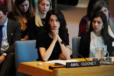 Amal Clooney is pictured at the United Nations Security Council during a meeting about sexual violence in conflict in New York, New York, U.S., April 23, 2019. REUTERS/Carlo Allegri