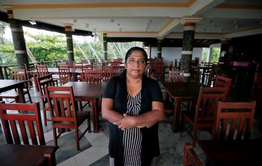 Samanmali Colonne, 51, poses for a photograph inside the Warahena Beach hotel in Bentota, Sri Lanka May 2, 2019. Picture take May 2, 2019. REUTERS/Dinuka Liyanawatte
