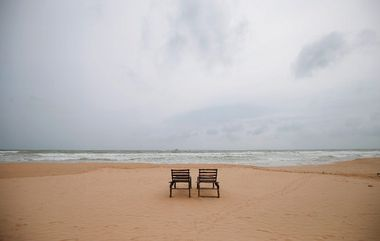 Empty sunbathing chairs are seen on a beach near hotels in a tourist area in Bentota, Sri Lanka May 2, 2019. Picture take May 2, 2019. REUTERS/Dinuka Liyanawatte