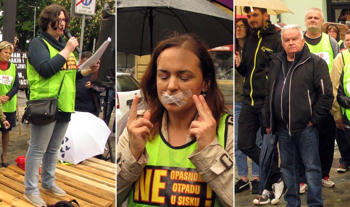 FOTO: SIŠČANI REKLI VELIKO 'NE' GOMILANJU OPASNOG OTPADA U GRADU 'Željeli su nas iz gradske uprave ušutkati. Imamo pravo na zdrav život'