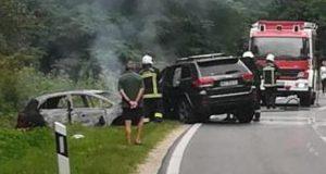 Frontalni sudar kod Čakovca: Auto izgorio, ozlijeđena i djeca