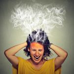 stressed woman screaming frustrated thinking too hard steam coming out of head