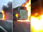 VIDEO: DRAMA NA AUTOCESTI KOD TUNELA SV. ROK Zapalio se autobus, snimljen trenutak u kojem je došlo do eksplozije na stražnjem kraju vozila