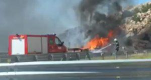 Video: Kod tunela Ledenik se zapalio auto, kolona devet km