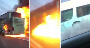 Gori autobus na autocesti A1: 'Bilo je strašno, eksplodiralo je'