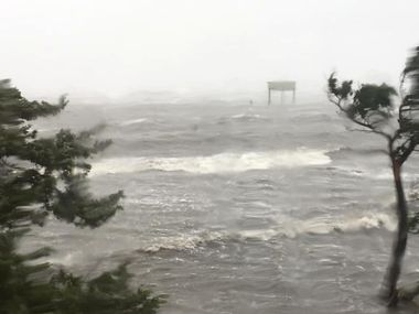 Severe flooding conditions can been seen in Ocracoke Island after Hurricane Dorian landfall, North Carolina, U.S., September 6, 2019 in this image obtained by social media. Ann Warner via REUTERS ATTENTION EDITORS - THIS IMAGE HAS BEEN SUPPLIED BY A THIRD PARTY. MANDATORY CREDIT. NO RESALES. NO ARCHIVES