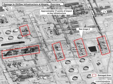 A satellite image showing damage to oil/gas Saudi Aramco infrastructure at Abqaiq, in Saudi Arabia in this handout picture released by the U.S Government September 15, 2019. U.S. Government/DigitalGlobe/Handout via REUTERS THIS IMAGE HAS BEEN SUPPLIED BY A THIRD PARTY. NO RESALES. NO ARCHIVES