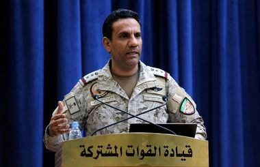 Official spokesperson for the Saudi-led coalition fighting in Yemen, Colonel Turki Al-Malik speaks during a news conference, in Riyadh, Saudi Arabia, September 16, 2019. REUTERS/Ahmed Yosri NO RESALES. NO ARCHIVES.