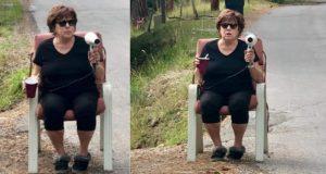 Baka uzela fen i sjela uz cestu kako bi usporavala automobile