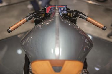 A digital display sits on the AMB 001 motorcycle on display at the Aston Martin Lagonda Global Holdings Plc stand at the EICMA Motorcycle Show in Milan, Italy, on Nov. 6, 2019. Aston Martin debuted the 180-horsepower motorcycle, coming with a V-twin, turbo-charged engine, made in partnership with Brough Superior at the show. Photographer: Camilla Cerea/Bloomberg via Getty Images