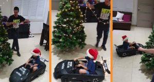 BLAGDANSKI DRIFT! Pogledajte kao je klinac u Murcielagu SV ocu pomogao postaviti ukrase na božićno drvce