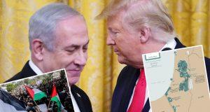TRUMP PREDSTAVIO SVOJ 'DOGOVOR STOLJEĆA', TVRDI DA ĆE DONIJETI MIR BLISKOM ISTOKU Pogledajte kakvu su kartu on i Netanyahu nacrtali