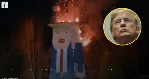 Slovenci su zapalili Trumpa: Njegov kip pretvorili u zgarište
