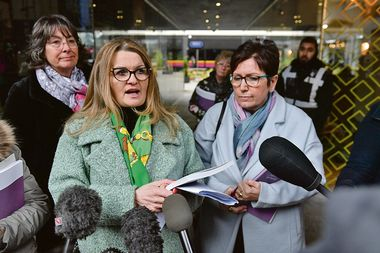 Tracey Smith (left) and Debbie Douglas give a statement to the media outside The Bond Company, Birmingham, after Inquiry chairman, the Right Rev Graham James, presented a report and its findings of the Ian Paterson inquiry., Image: 496384093, License: Rights-managed, Restrictions: , Model Release: no, Credit line: Jacob King / PA Images / Profimedia