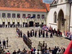 SVEČANO OBILJEŽAVANJE DANA DRŽAVNOSTI S Medvedgrada ispaljeni počasni plotuni, održana svečanost i na Trgu sv. Marka, Radojka Šverko otpjevala himnu
