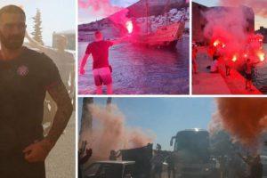 FOTO/VIDEO Veličanstven doček za Hajduk: Torcida je 'zapalila' Dubrovnik, a Livaja izašao iz busa proslaviti