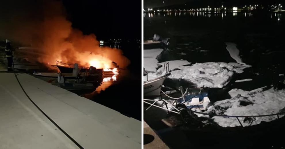 Sukošan: Gorjeli brodovi na rivi, mještani pomogli vatrogascima