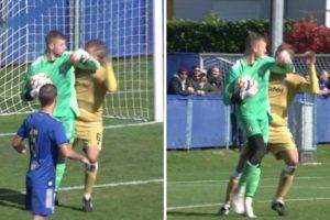 Dinamo - Hajduk 1-1, juniori, žuti karton, Zadro lakat u glavu Vladušića